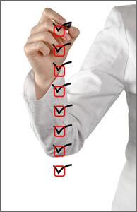 Woman writing a checklist