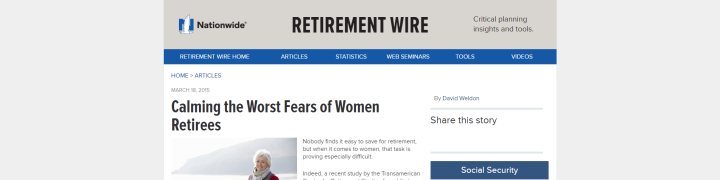 Worst Fears of Women Retirees